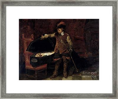 Oliver Cromwell Opening The Coffin Of Charles I  Framed Print by Hippolyte Delaroche