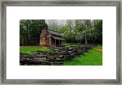 Oliver's Cabin Among The Dogwood Of The Great Smoky Mountains National Park Framed Print