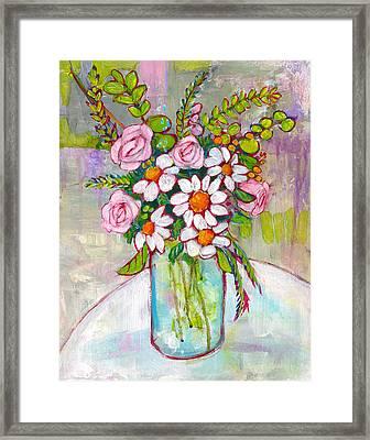 Olivia Daisy Flowers Framed Print by Blenda Studio