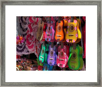 Olvera Street Ukeleles Framed Print by Richard Hinds