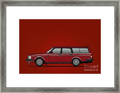 Volvo 245 Brick Wagon 200 Series Red Framed Print by Monkey Crisis On Mars