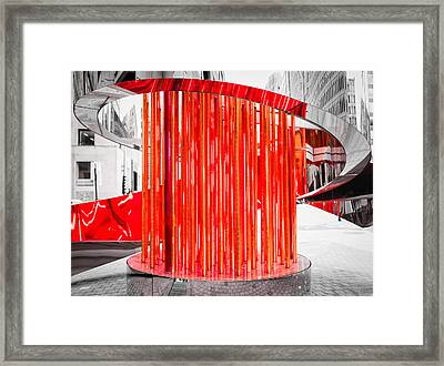 Framed Print featuring the photograph Olympic Neon Flame by Rona Black