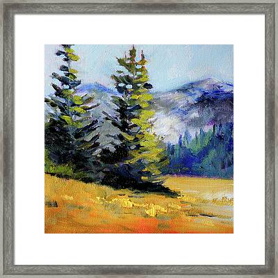 Framed Print featuring the painting Olympic Range by Nancy Merkle