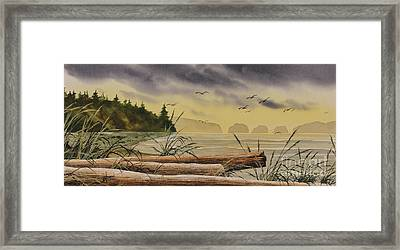 Framed Print featuring the painting Olympic Seashore Sunset by James Williamson