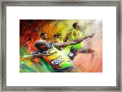 Olympics 100 M Gold Medal Usain Bolt Framed Print by Miki De Goodaboom