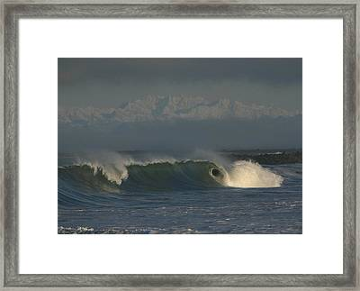 Olympics Over Halfmoon Bay Framed Print by Mike Coverdale