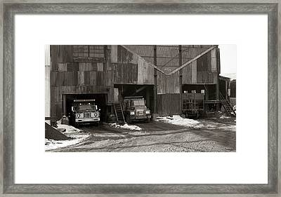 Olyphant Pa Coal Breaker Loading Trucks And Gondola Car Winter 1971 Framed Print