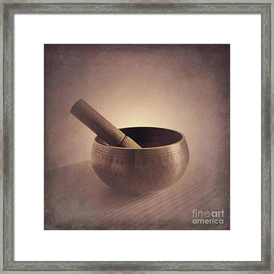 Framed Print featuring the photograph Om Singing Bowl by Chris Scroggins