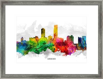 Omaha Nebraska Cityscape 12 Framed Print