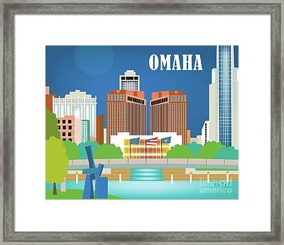 Omaha Nebraska Horizontal Skyline Framed Print