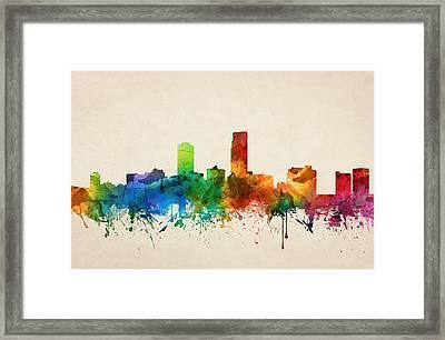 Omaha Nebraska Skyline 05 Framed Print