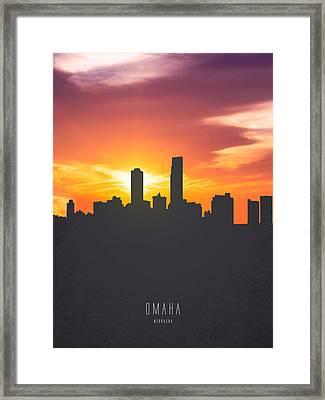 Omaha Nebraska Sunset Skyline 01 Framed Print