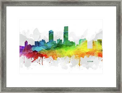 Omaha Skyline Mmr-usneom05 Framed Print by Aged Pixel