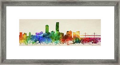 Omaha Skyline Panorama Usneom-pa03 Framed Print