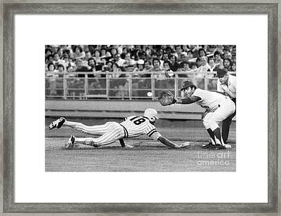 Omar Moreno Attemps To Steal But Makes It Back To First. 1977 Framed Print