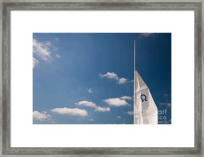 Omega Symbol On Mast Framed Print by Arletta Cwalina