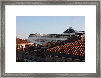 Omg There Is A Cruise Ship In My Backyard Framed Print by Pat Purdy