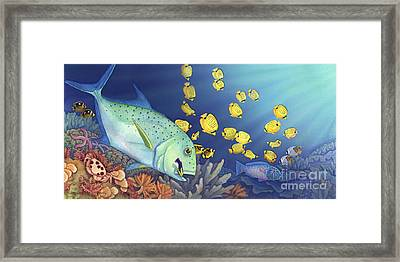 Omilu Bluefin Trevally Framed Print by Tammy Yee