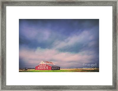 Ominous Clouds Over The Aggie Barn In Reagan, Texas Framed Print