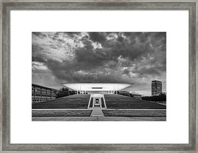 Ominous Clouds Over The James Turrell Skyscape  Twilight Epiphany - Rice University Houston Texas Framed Print