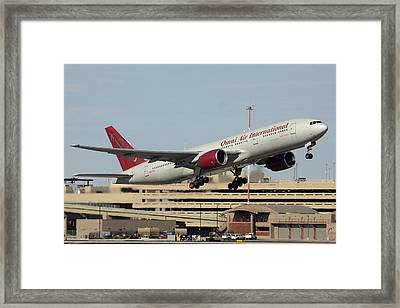 Omni Air International Boeing 777-222 N927ax Phoenix Sky Harbor January 3 2015 Framed Print by Brian Lockett