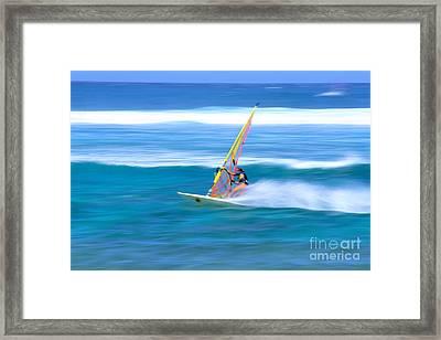 On A Calm Blue Ocean Framed Print