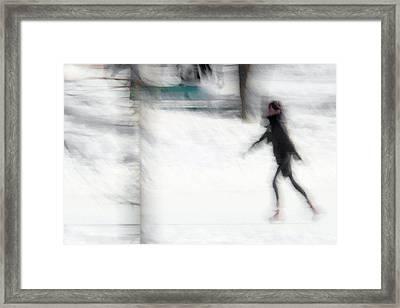 On A Frozen Pond Framed Print by Denis Bouchard