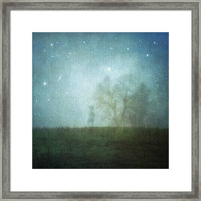 On A Starry Night, A Boy And His Tree Framed Print