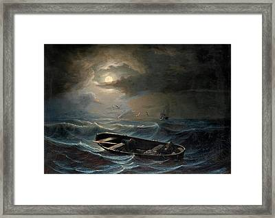 On A Stormy Sea Framed Print