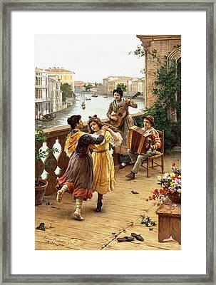On A Venetian Balcony Framed Print by Antonio Paoletti