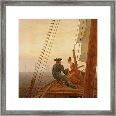 On Board A Sailing Ship Framed Print by Caspar David Friedrich