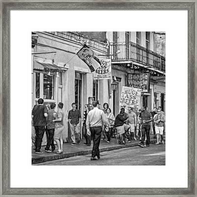 On Bourbon Street - Paint Bw Framed Print by Steve Harrington