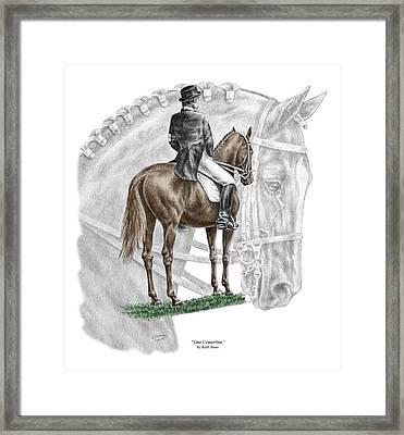 On Centerline - Dressage Horse Print Color Tinted Framed Print
