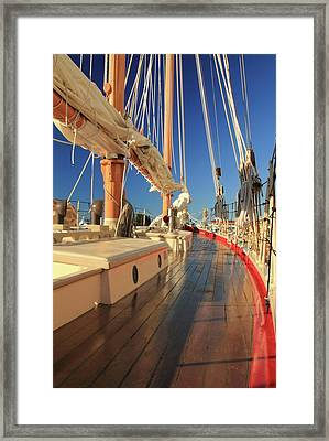 Framed Print featuring the photograph On Deck Of The Schooner Eastwind by Roupen  Baker