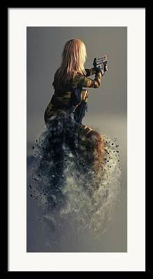 Female Soldier Framed Prints