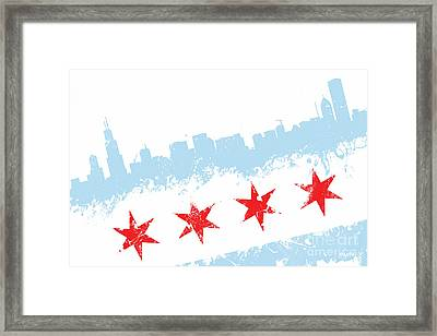 Chicago Flag Lean Framed Print by Mike Maher