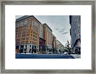 On F Street - Washington D C Framed Print by Alexey Topolyanskiy