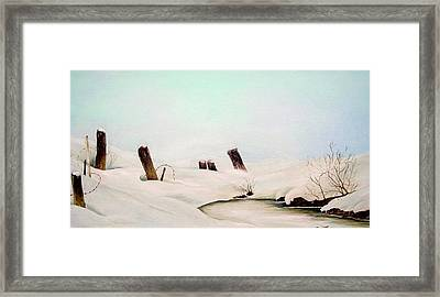 Framed Print featuring the painting On Frozen Pond by Anna-maria Dickinson