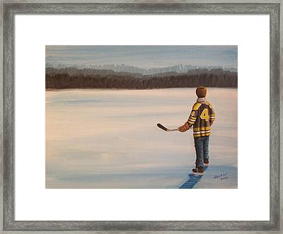 On Frozen Pond - Bobby Framed Print