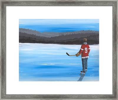 On Frozen Pond - Gordie Framed Print by Ron Genest