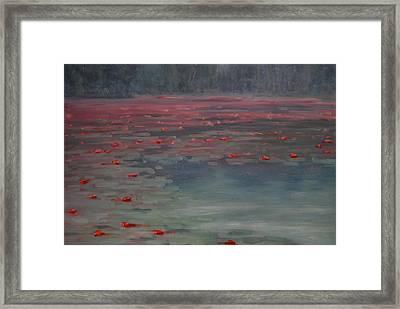 On Lilly Pond Framed Print by Len Stomski