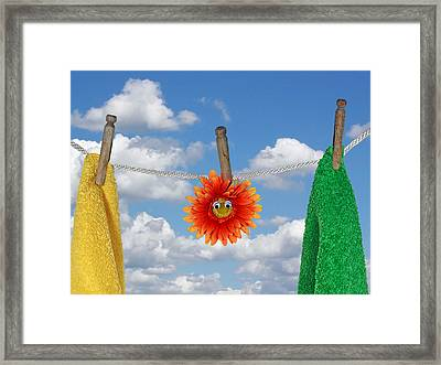 On Line Framed Print by Maria Dryfhout