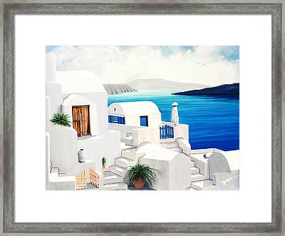 On Oia, Santorini - Prints Of Original Oil Painting Framed Print by Mary Grden Fine Art Oil Painter Baywood Gallery