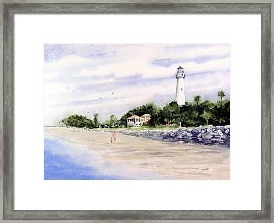 On The Beach At St. Simon's Island Framed Print