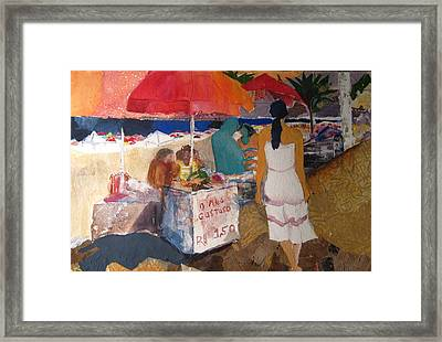 On The Beach In Rio Framed Print