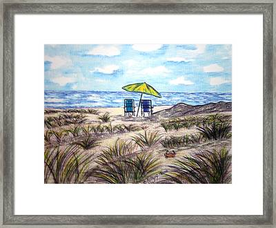 Framed Print featuring the painting On The Beach by Kathy Marrs Chandler
