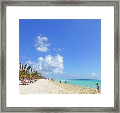 Framed Print featuring the digital art On The Beach M1 by Francesca Mackenney