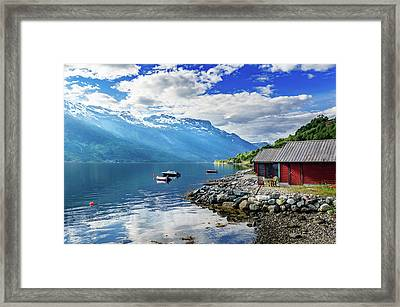 Framed Print featuring the photograph On The Beach Of Sorfjorden by Dmytro Korol