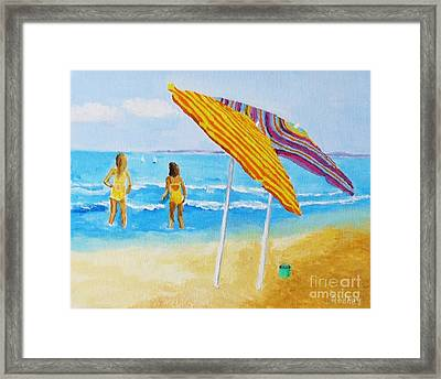 Framed Print featuring the painting On The Beach by Rodney Campbell