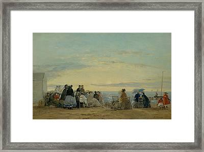 On The Beach, Sunset Framed Print by Eugene Boudin